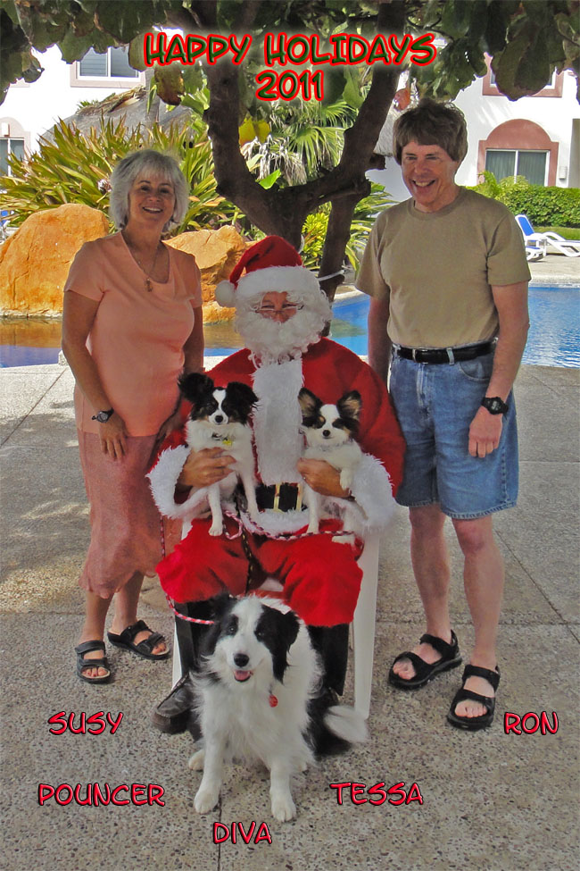 Susy and Ron with Diva, Pouncer and Tessa visit Santa