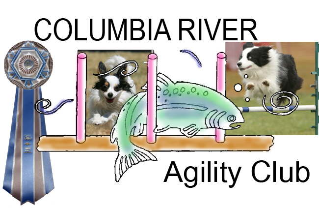 Columbia River Agility Club logo with Tessa and Diva pictures